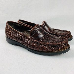 Cole Haan Leather Weave Penny Loafer Shoes Brown 9